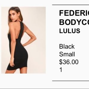 Lulu's Black Federica Crocheted bodycon dress